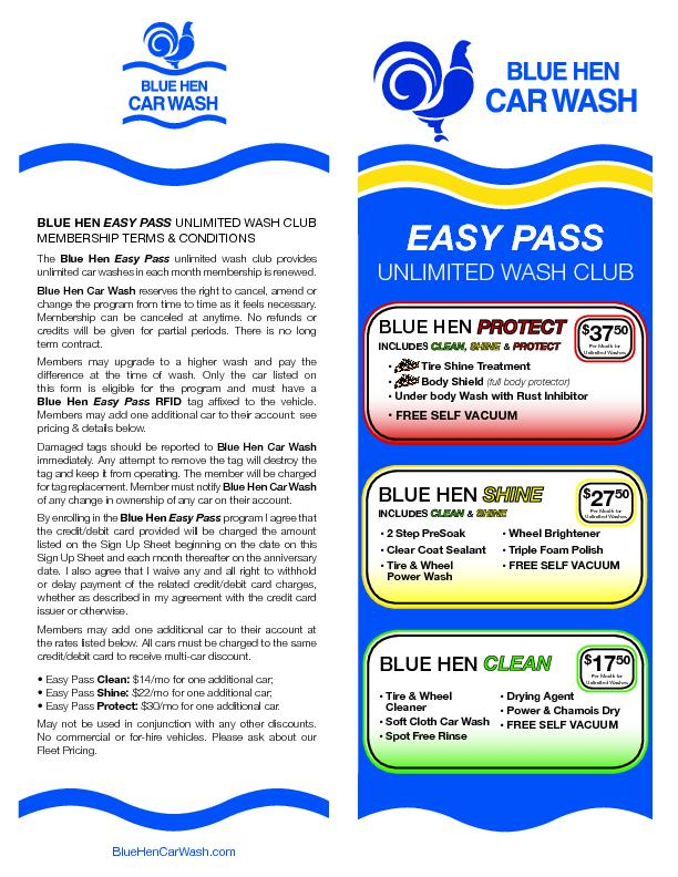 EASY PASSUNLIMITED WASH CLUB Blue Hen Easy Pass unlimited wash club pr