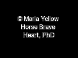 © Maria Yellow Horse Brave Heart, PhD