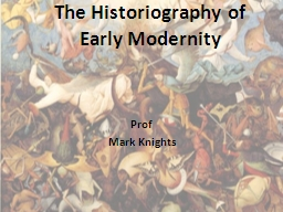 The Historiography of Early Modernity