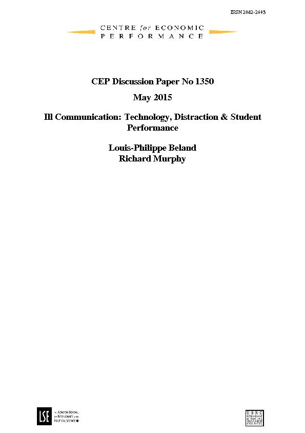 CEP Discussion Paper No 1350 May 2015 Ill Communication: Technology, D PowerPoint PPT Presentation