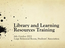 Library and Learning Resources Training PowerPoint PPT Presentation
