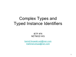 1 Complex Types and