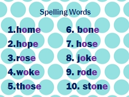 Spelling Words PowerPoint PPT Presentation