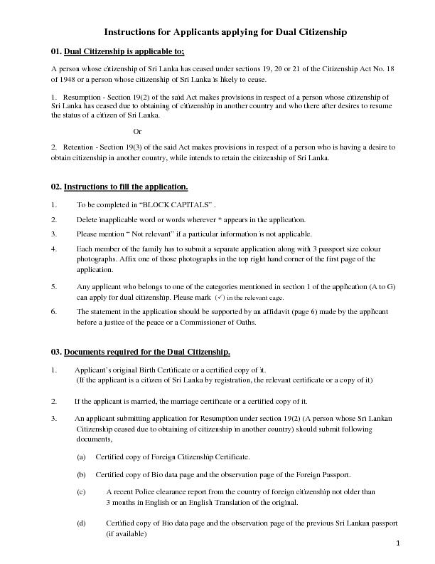 Instructions for Applicants pplying for Dual Citizenship 01.Dual Cit