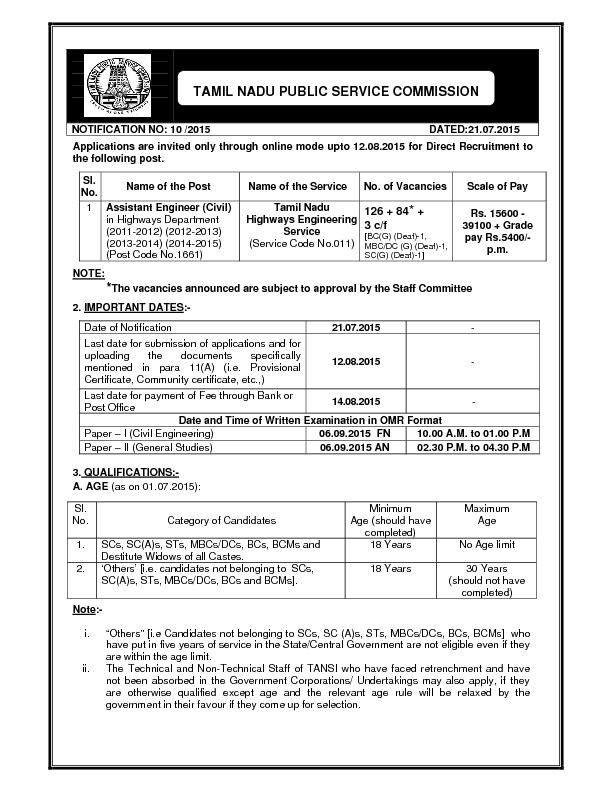 Applications are invited only through online mode upto 12.08.2015 for