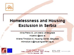 Homelessness and Housing Exclusion in Serbia