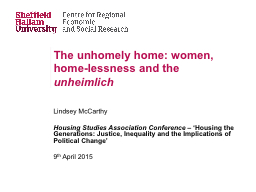 The unhomely home: women, home-