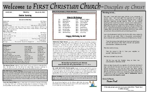 AM Worship March   Easter Sunday Servants in Worship Announcer PDF document - DocSlides