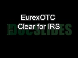 EurexOTC Clear for IRS