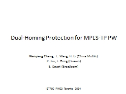 Dual-Homing Protection for MPLS-TP PW