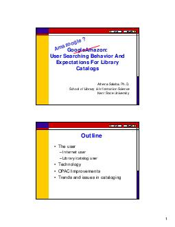 GoogleAmazon User Searching Behavior And Expectations For Library Catalogs Athena Salaba Ph PowerPoint PPT Presentation