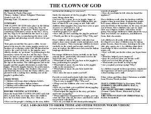 THE CLOWN OF GOD By Tomie de Paola Harcourt Themes Italian Culture Religion Christmas Grade Level K Running Time  minutes animated SUMMARY THE CLOWN OF GOD takes place in the Italian town of Sorrento