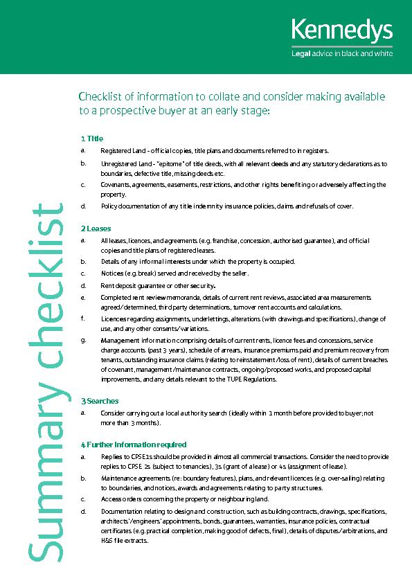Checklist of information to collate and consider making available  ...