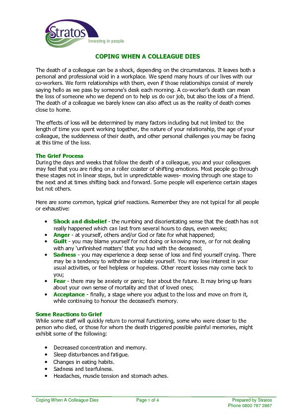 Coping When A Colleague Dies    Page 1 of 4 Prepared by Stratos Phone