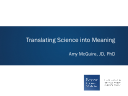 Translating Science into Meaning PowerPoint PPT Presentation