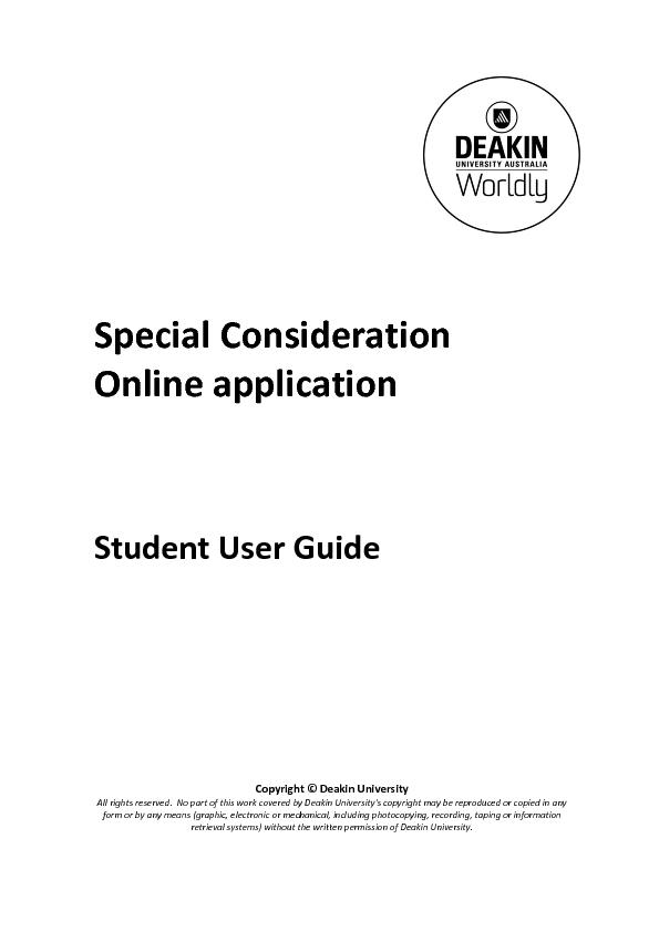Special Consideration Online Application