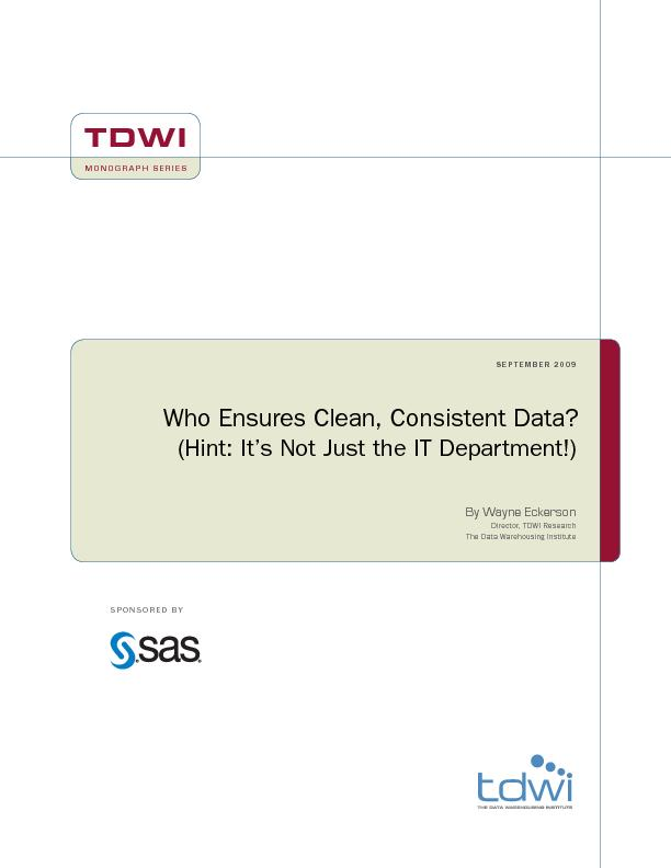 TDWI Monograph Series Who Ensures Clean, Consistent Data?