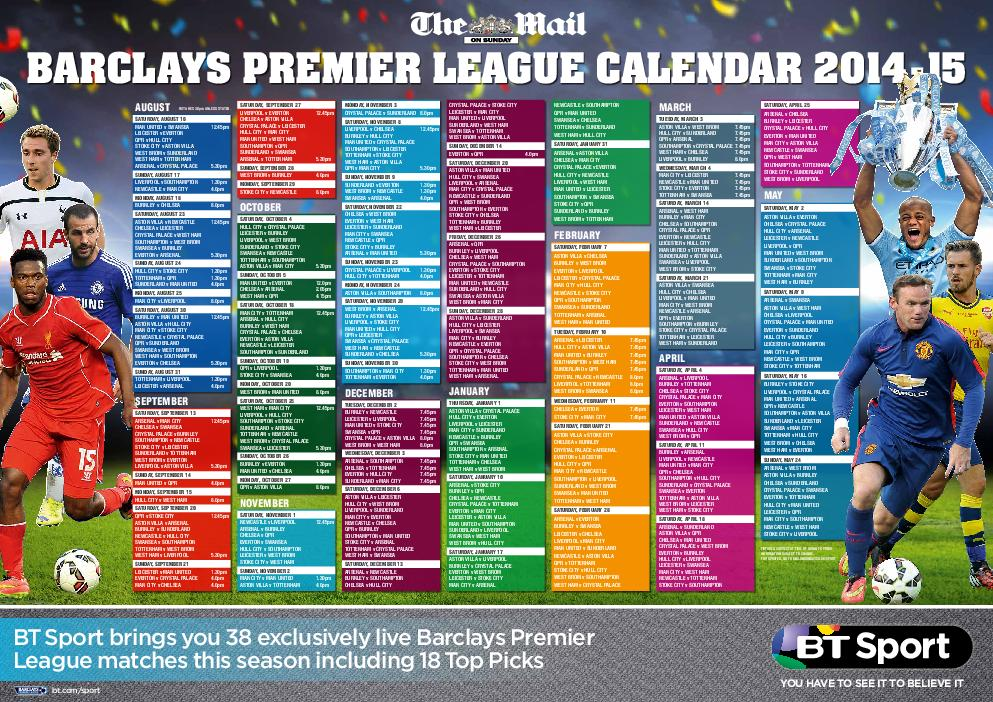 BARCL AYS PREMIER LEAGUE CALENDAR     AUGUST SATURDAY AUGUST  MAN UNITED v SWANSEA PowerPoint PPT Presentation