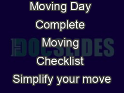 Packing Day Moving Day Complete Moving Checklist Simplify your move