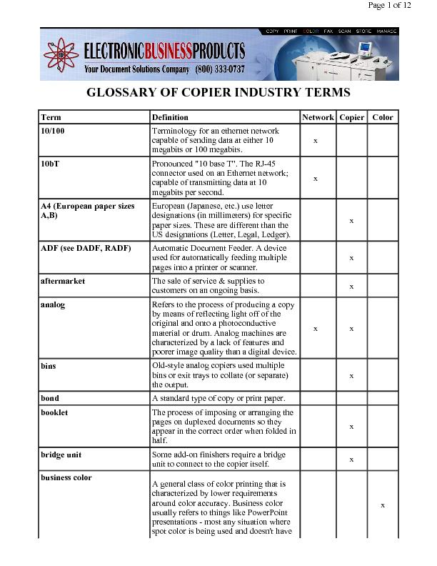 GLOSSARY OF COPIER INDUSTRY TERMS
