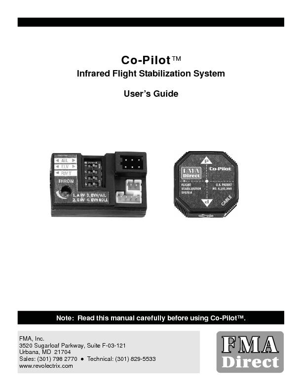 Infrared Flight Stabilization System User's Guide