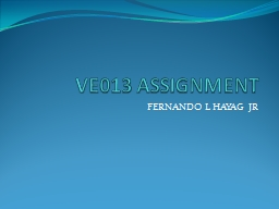 VE013 ASSIGNMENT