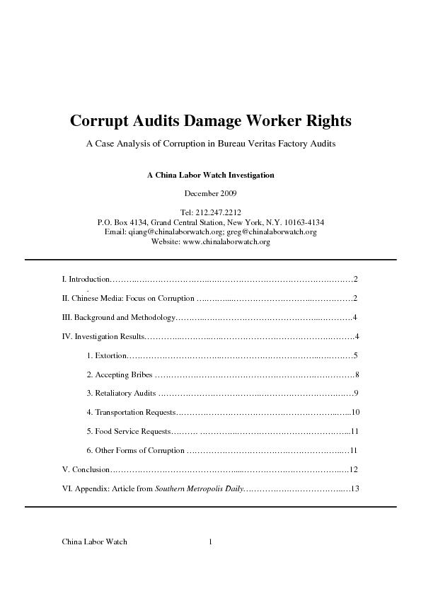 China Labor Watch 1 Corrupt Audits Damage Worker Rights A Case Analysi