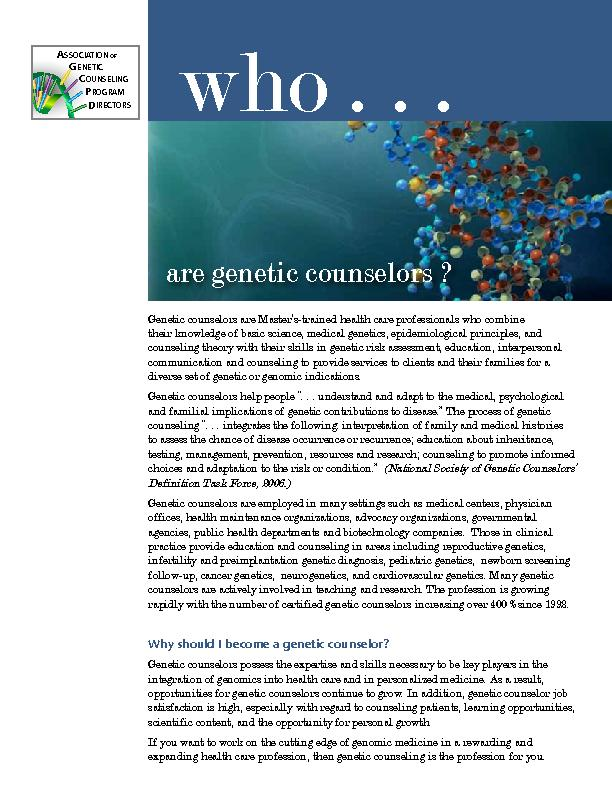 are genetic counselors ?Genetic counselors are Master's-trained h PowerPoint PPT Presentation