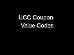 UCC Coupon Value Codes