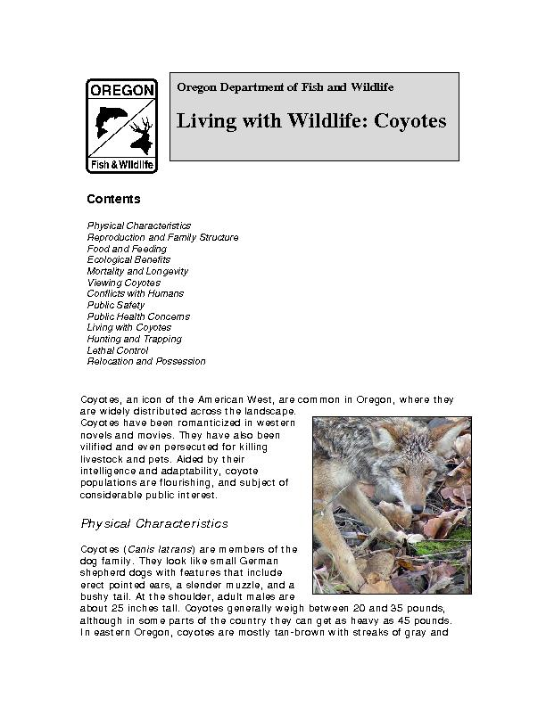 Oregon Department of Fish and Wildlife  Living with Wildlife: Coyotes PowerPoint PPT Presentation