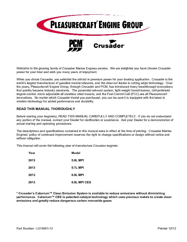 Welcome to the growing family of Crusader Marine Engines owners.  We a