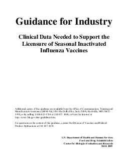 Guidance for Industry Clinical Data Needed to Support the Licensure of Seasonal