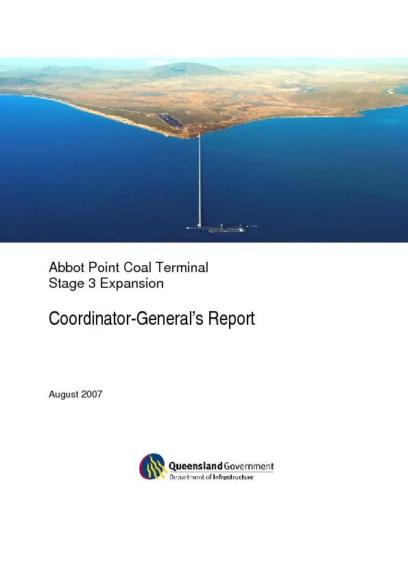 Abbot Point Coal Terminal Stage 3 Expansion Project EIS – Coordin