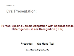 Person-Specific Domain Adaptation with Applications to PowerPoint PPT Presentation