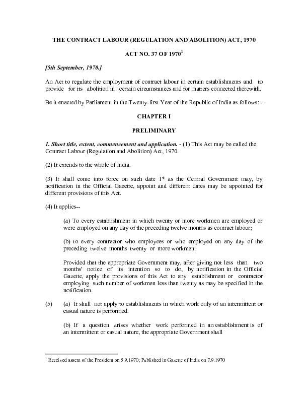 THE CONTRACT LABOUR (REGULATION AND ABOLITION) ACT, 1970 0    An Act t