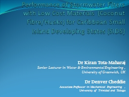 Performance of Stormwater Filters with Low Cost Materials (