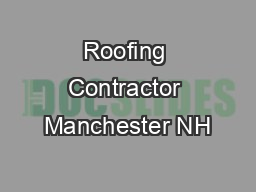 Roofing Contractor Manchester NH