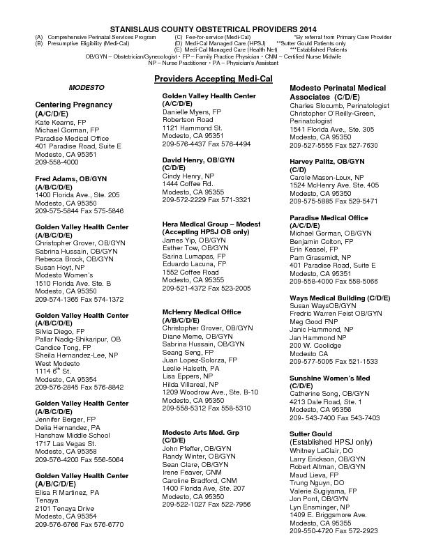 STANISLAUS COUNTY OBSTETRICAL PROVIDERS 2014(A) Comprehensive Perinata