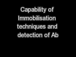 Capability of Immobilisation techniques and detection of Ab