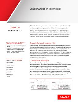 ORACLE DATA SHEET Oracle Outside In Technology Outside In Technology enhances hu
