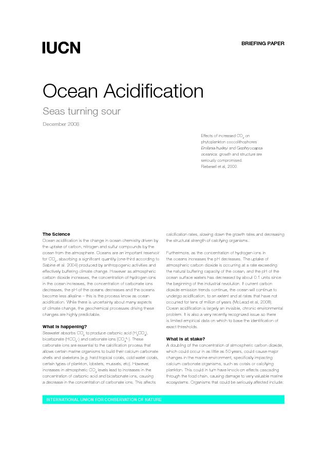 Ocean acidication is the change in ocean chemistry driven by the upta