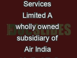 Airline Allied Services Limited A wholly owned subsidiary of Air India Limited Ref