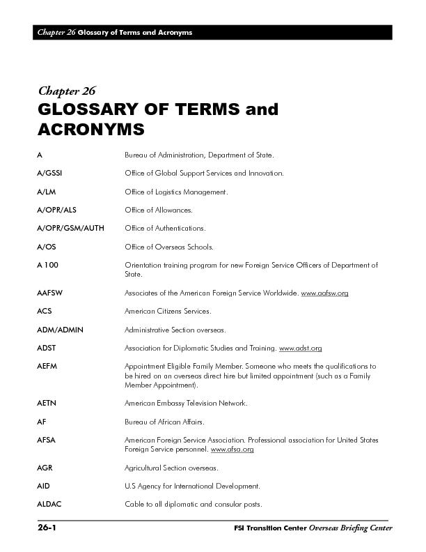 Glossary of Terms and AcronymsFSI Transition CenterOverseas Brieng Ce