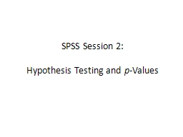 SPSS Session 2: