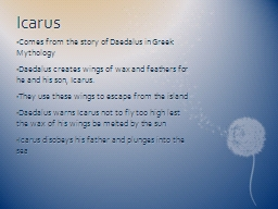 Icarus PowerPoint PPT Presentation