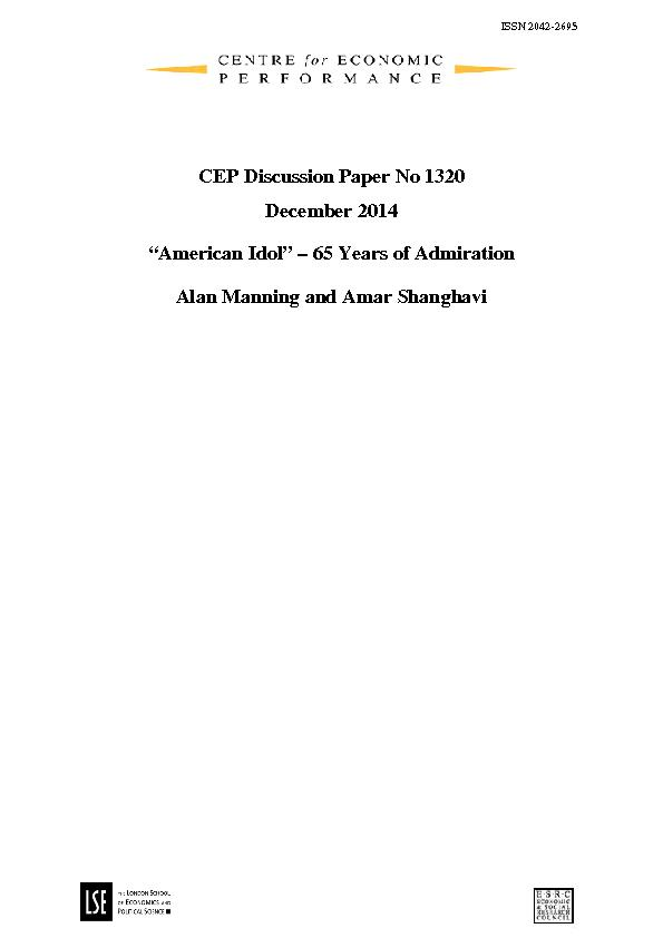 CEP Discussion Paper No DecemberAmerican IdolYears of AdmirationAlan M