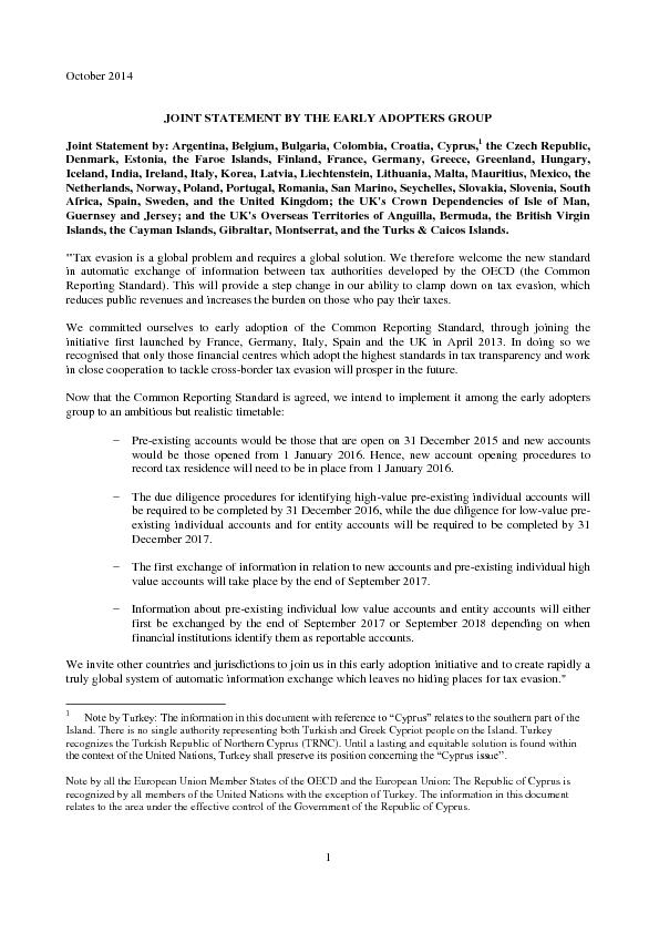 JOINT STATEMENT BY THE EARLY ADOPTERS GROUP