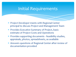 Project Developer meets with Regional Center principal to d