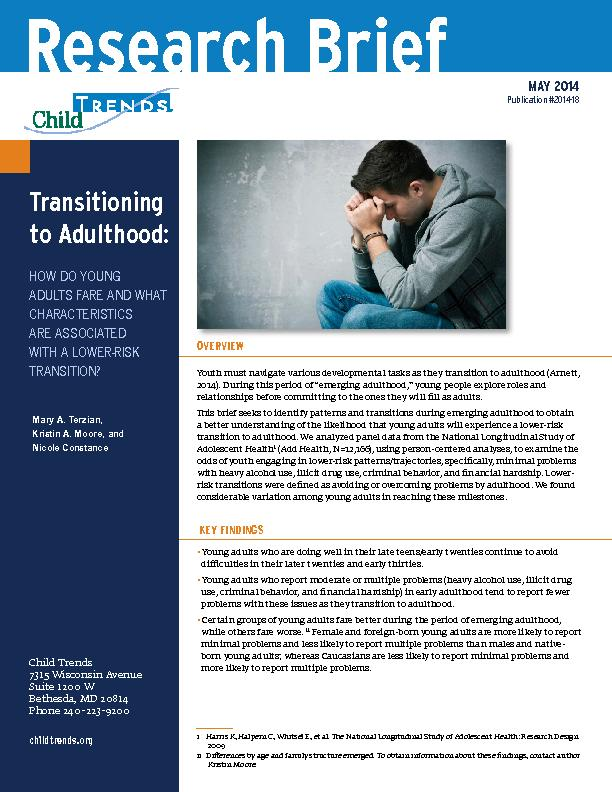 Transitioning to Adulthood: ADULTS FARE AND WHAT ARE ASSOCIATED Mary A