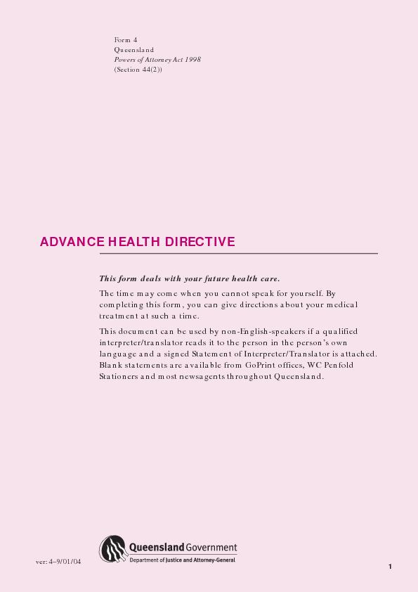 ADVANCE HEALTH DIRECTIVElanguage and a signed Statement of Interpreter